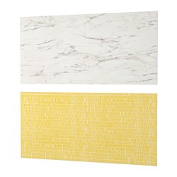 LYSEKIL - Wall panel, double sided white marble effect/patterned