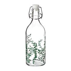 KORKEN - Botol dengan penutup, kaca bening/berpola hijau