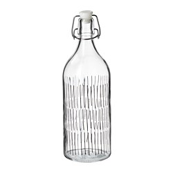 KORKEN - Botol dengan penutup, kaca bening/berpola hitam
