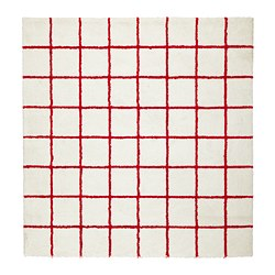 SIMESTED - Rug, high pile, white/red