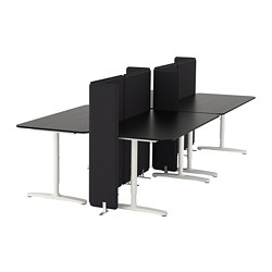 BEKANT - Desk with screen, black stained ash veneer/white