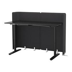 BEKANT - Meja penerima tamu duduk/berdiri, veneer kayu ash diwarnai hitam/hitam