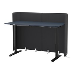 BEKANT - Reception desk sit/stand, linoleum blue/black