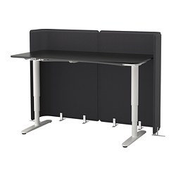 BEKANT - Reception desk sit/stand, black stained ash veneer/white