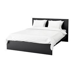 MALM - Bed frame, high, black-brown/Lönset