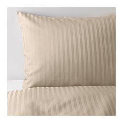 NATTJASMIN - Quilt cover and 4 pillowcases, light beige