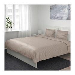 NATTJASMIN - Sarung quilt dan 2 sarung bantal, krem muda