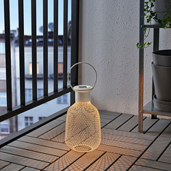 SOLVINDEN - LED solar-powered lantern, outdoor/mesh white
