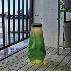 SOLVINDEN - LED solar-powered floor lamp, outdoor/glass green