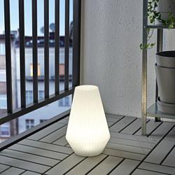 SOLVINDEN - LED solar-powered floor lamp, outdoor/plastic white