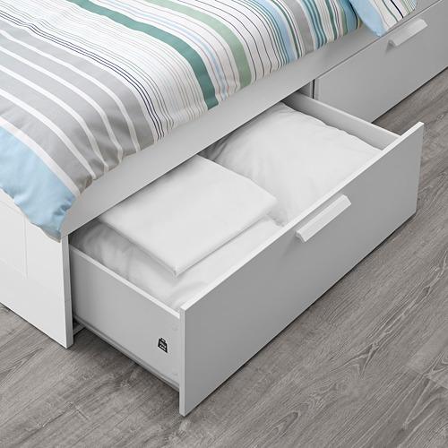 BRIMNES - rangka tempat tidur dg penyimpanan, putih/Luröy, 120x200 cm | IKEA Indonesia - PE699688_S4