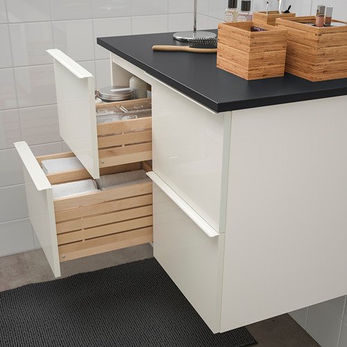 TOLKEN/GODMORGON meja wastafel dengan 4 laci