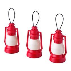 VINTERFEST - Lampu LED dekorasi, dioperasikan dengan baterai/lentera merah