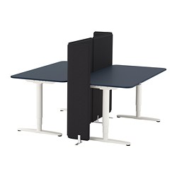 BEKANT - Desk sit/stand with screen, linoleum blue/white