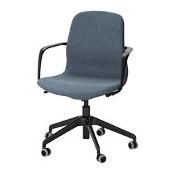 LÅNGFJÄLL - Office chair with armrests, Gunnared blue/black