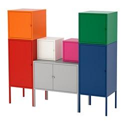 LIXHULT - Storage combination, red/orange/grey pink/white/blue/green