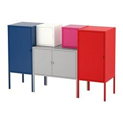 LIXHULT - Storage combination, dark blue grey/white/pink/red