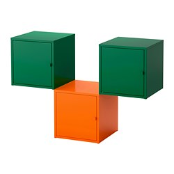 LIXHULT - Kombinasi penyimpanan, oranye/hijau tua