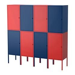 LIXHULT - Kombinasi penyimpanan, biru tua/merah