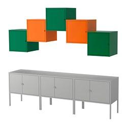 LIXHULT - Kombinasi penyimpanan, abu-abu hijau tua/oranye