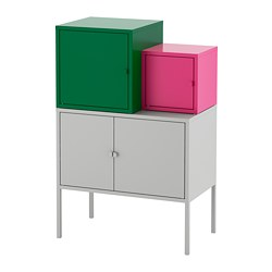 LIXHULT - Kombinasi penyimpanan, abu-abu hijau tua/merah muda