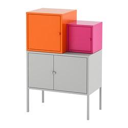 LIXHULT - Kombinasi penyimpanan, abu-abu oranye/merah muda
