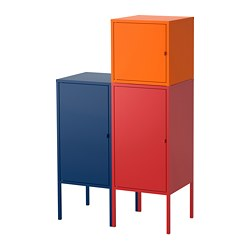 LIXHULT - Kombinasi penyimpanan, biru tua/merah/oranye