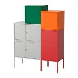 LIXHULT - Storage combination, grey dark green/red/orange