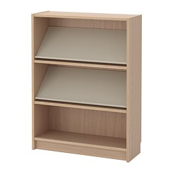 BILLY/BOTTNA - Rak buku dengan rak display, veneer kayu oak diwarnai putih/krem