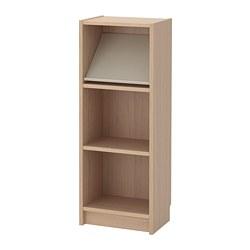 BILLY/BOTTNA - Rak buku dengan rak display, veneer kayu oak diwarnai putih/krem
