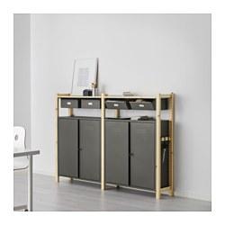 IVAR - 2 bagian/rak/kabinet, kayu pinus/abu-abu