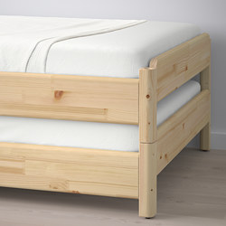 UTÅKER - Stackable bed with 2 mattresses, pine/Malfors firm