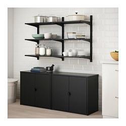BROR/ALGOT - Unit rak dengan kabinet, hitam