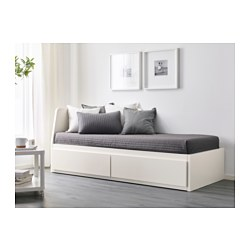 FLEKKE - Day-bed w 2 drawers/2 mattresses, white/Husvika firm
