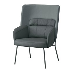 BINGSTA - High-back armchair, Vissle dark grey/Kabusa dark grey