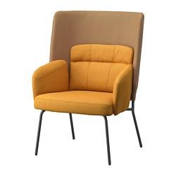 BINGSTA - High-back armchair, Vissle dark yellow/Kabusa dark yellow