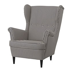 STRANDMON - Wing chair, Vibberbo black/beige