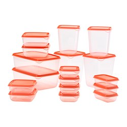 PRUTA - PRUTA, food container, set of 17, transparent/orange