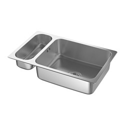 HILLESJÖN - Inset sink 1 1/2 bowl, stainless steel