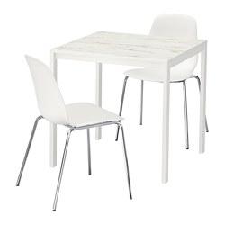LEIFARNE/MELLTORP - Meja dan 2 kursi, efek marmer putih/dilapisi krom
