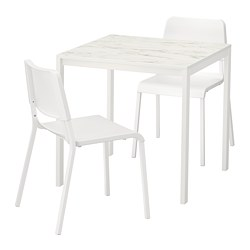 MELLTORP/TEODORES - Table and 2 chairs, white marble effect/white