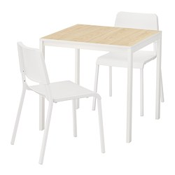MELLTORP/TEODORES - Table and 2 chairs, ash/white