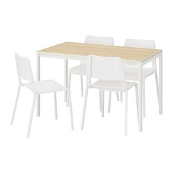 MELLTORP/TEODORES - Table and 4 chairs, ash/white