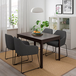 EKEDALEN/TOSSBERG - Table and 4 chairs, dark brown metal/grey