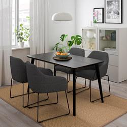 TOSSBERG/LISABO - Meja dan 4 kursi, hitam logam/abu-abu
