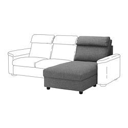 LIDHULT - Bagian chaise longue, Lejde abu-abu/hitam