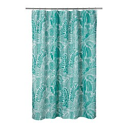 GATKAMOMILL - GATKAMOMILL, tirai shower, toska/putih, 180x200 cm