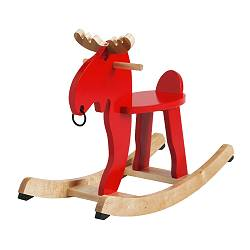 EKORRE - Rocking-moose, red/rubberwood