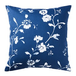 BLÅGRAN - Cushion cover, blue/white