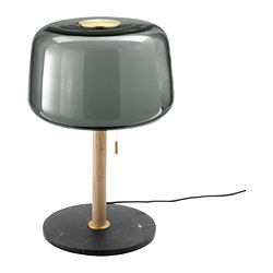 EVEDAL - Table lamp, marble/grey